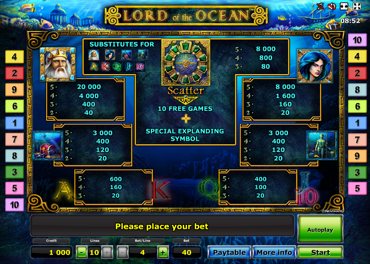 Lord of the Ocean paytable